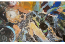 WODA collage na papierze, 100x70 cm w passe-partout