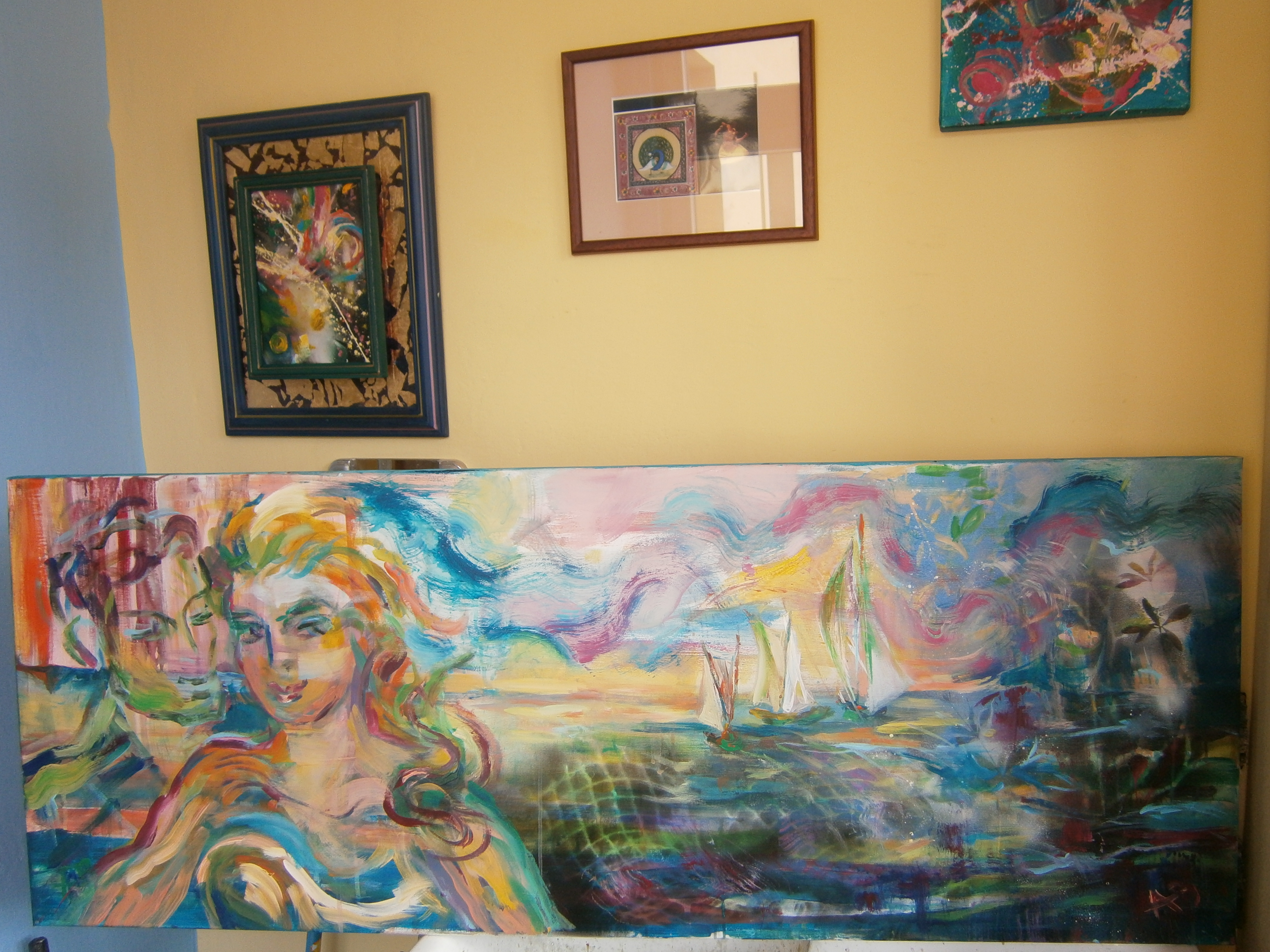 PARA ŻEGLARZY 100 x 50 cm, olej na płótnie