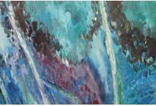 TURKUSOWY MOTYL, 100x 70 cm, olej na płótnie