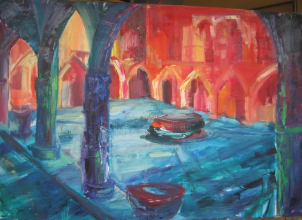 KRAKÓW-DZIEDZINIEC ALMA MATER 110 x 75 cm, olej na płótnie