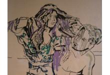 NAD JEZIOREM 30x40 rysunek piórkiem na papierze