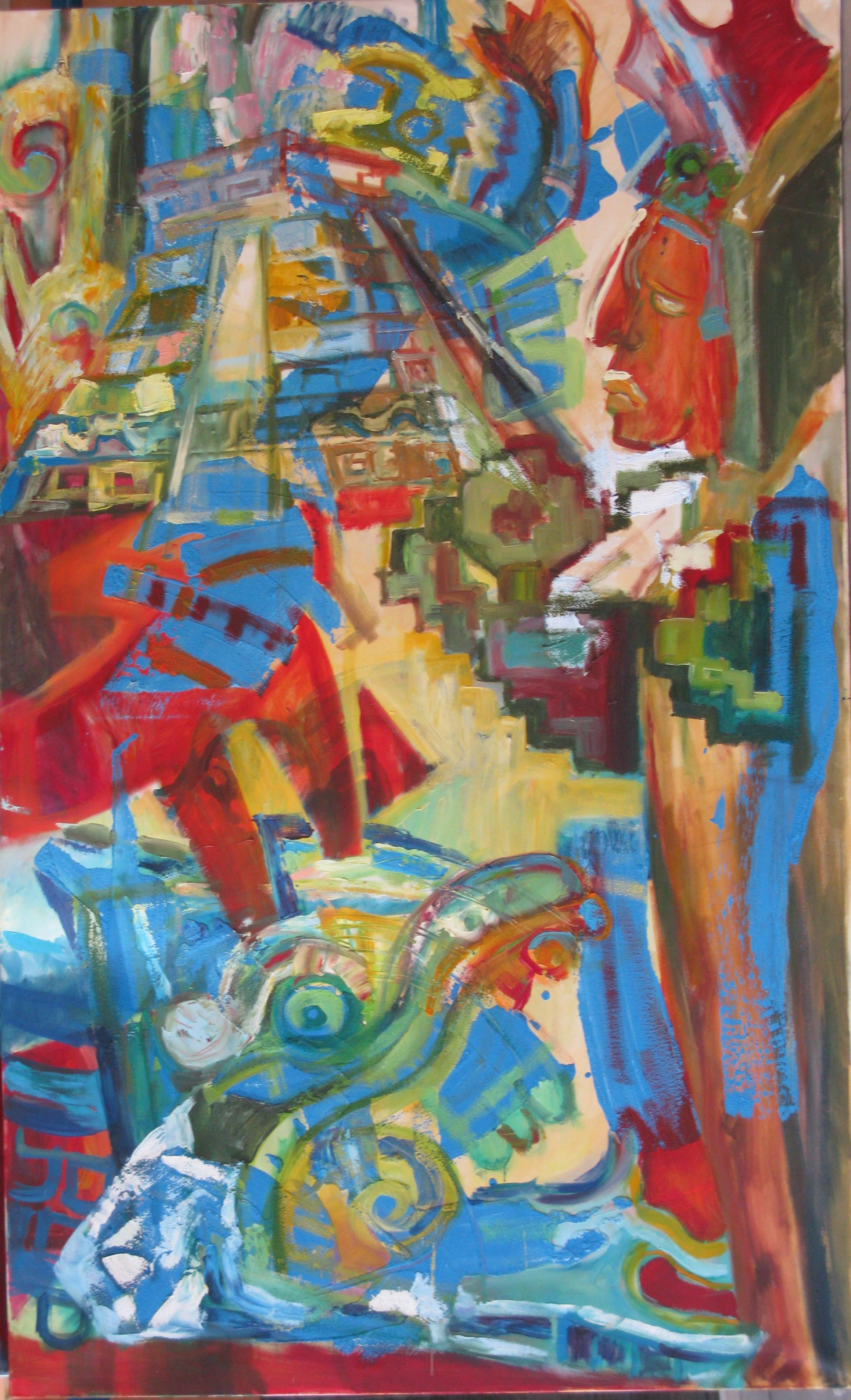 MAJOWIE PIERZASTEGO WĘŻA  olej na płótnie, 190 x 115 cm