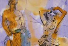 RZYMSKA PARA akwarela i rysunek piórkiem, 30x40  w oprawie