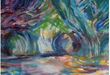 GROTA NA OCEANIE 40 x 60 cm , akryl na płótnie