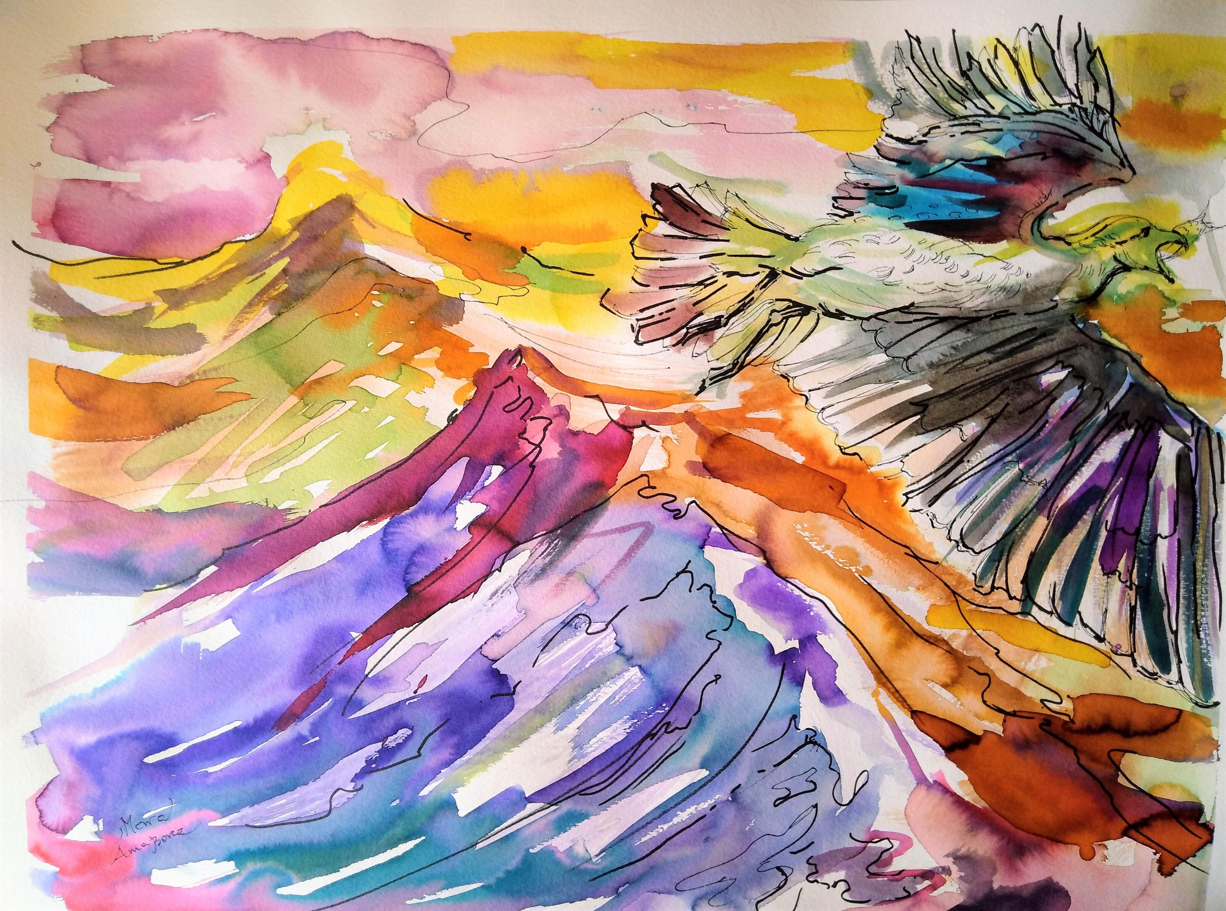 MEWA 50 x 65 cm, barwne tusze i akwarela