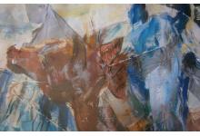 KONIE -RODZINA 70x100cm, collage na tekturze z ramą