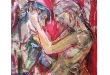 PARA SIEDZĄCA, 100 x 70 cm, collage na płótnie