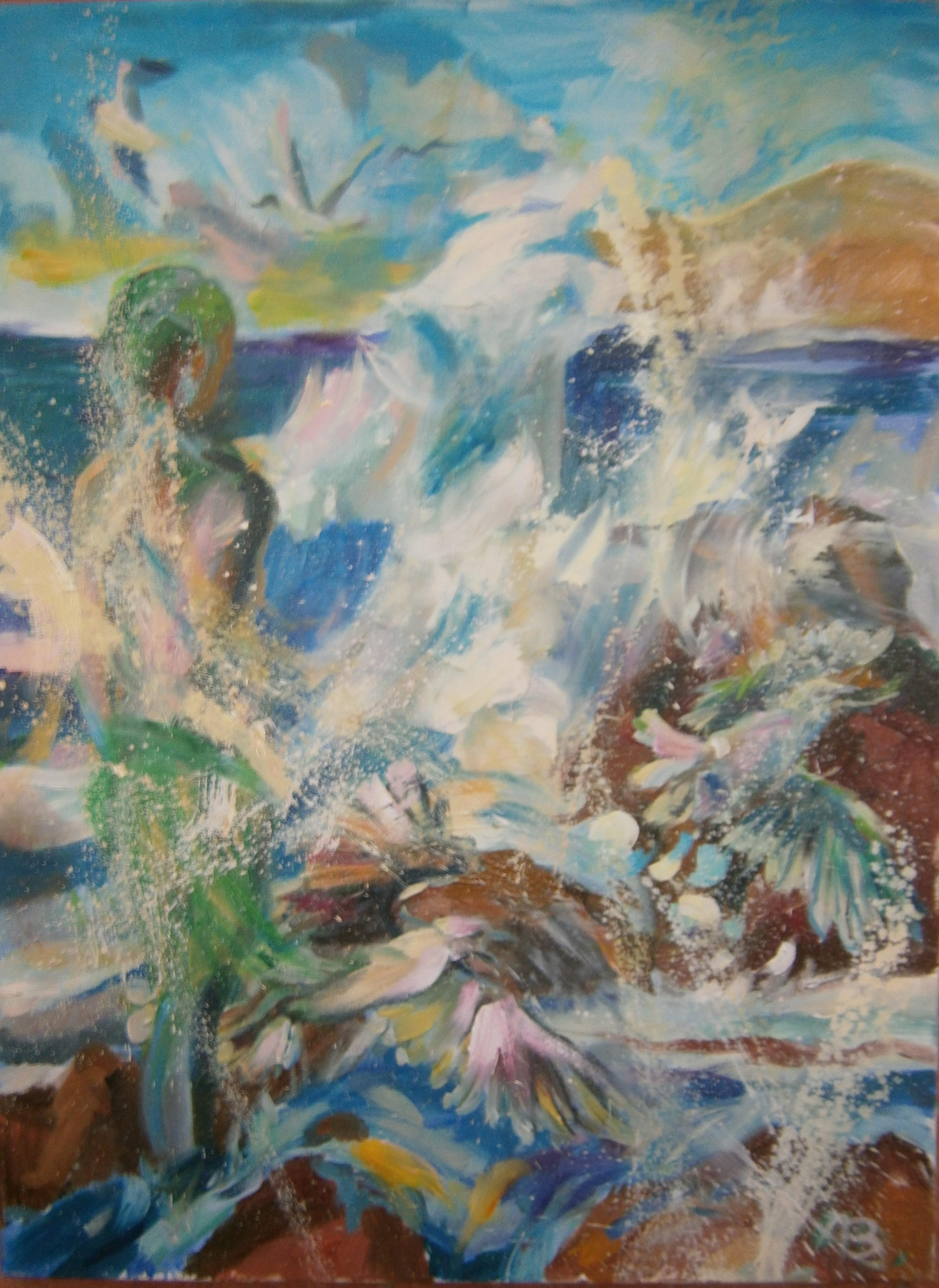 Genialny WODNIK O MEWY 60x80cm, olej na płótnie – Anna Borcz US11