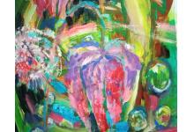 KROPLE ROSY 50x70cm, akryl na płótnie
