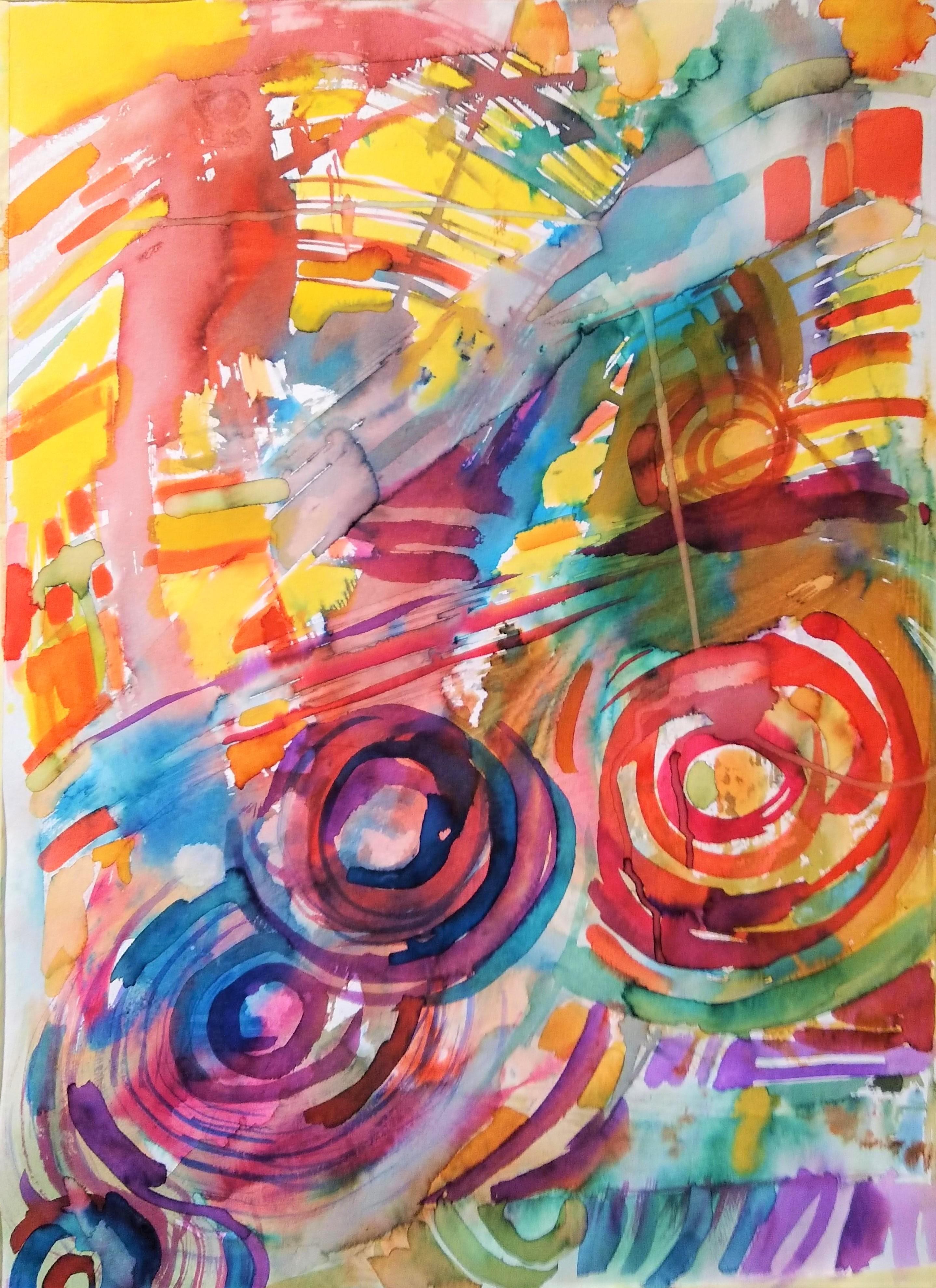 ABSTRAKCJA WIOSENNA 50 x 65 cm, barwne tusze i akwarela