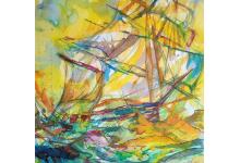POLSKI ŻAGLOWIEC 50 x 65 cm, barwne tusze i akwarela